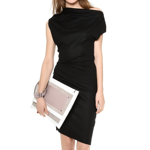 0c1b47130ae Helmut Lang Dresses   Skirts - Helmut Lang Sonar Wool Asymmetric Ruched  Dress